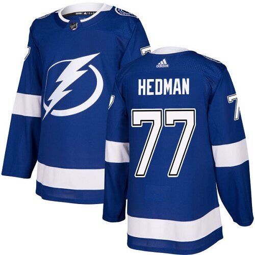 Adidas NHL Men's Victor Hedman Royal Blue Home Authentic Jersey - #77 Tampa Bay Lightning