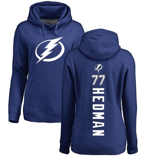 Adidas NHL Women's Victor Hedman Royal Blue Backer - #77 Tampa Bay Lightning Pullover Hoodie