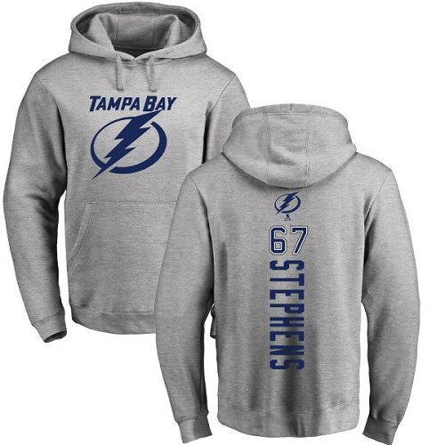 Adidas NHL Mitchell Stephens Ash Backer - #67 Tampa Bay Lightning Pullover Hoodie