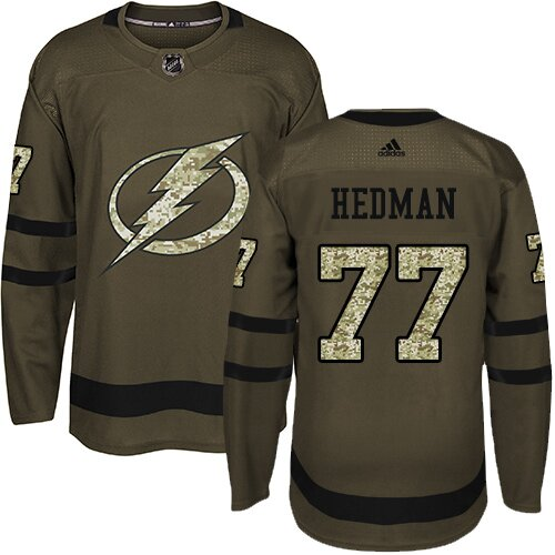 Adidas NHL Men's Victor Hedman Green Authentic Jersey - #77 Tampa Bay Lightning Salute to Service