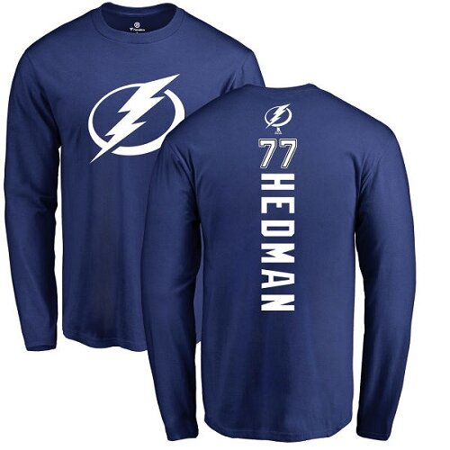 Adidas NHL Victor Hedman Royal Blue Backer - #77 Tampa Bay Lightning Long Sleeve T-Shirt