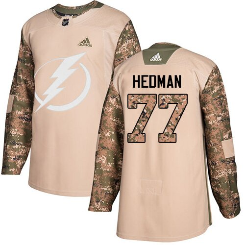 Adidas NHL Youth Victor Hedman Camo Authentic Jersey - #77 Tampa Bay Lightning Veterans Day Practice