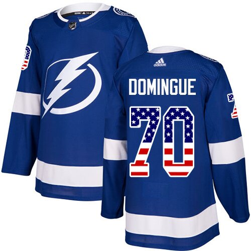 Adidas NHL Men's Louis Domingue Blue Authentic Jersey - #70 Tampa Bay Lightning USA Flag Fashion