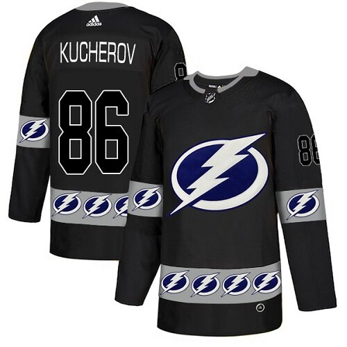 Adidas NHL Men's Nikita Kucherov Black Authentic Jersey - #86 Tampa Bay Lightning Team Logo Fashion