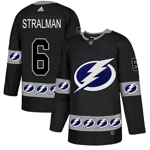 Adidas NHL Men's Anton Stralman Black Authentic Jersey - #6 Tampa Bay Lightning Team Logo Fashion