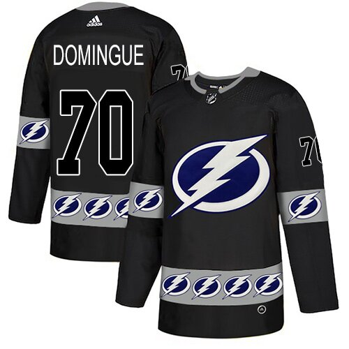 Adidas NHL Men's Louis Domingue Black Authentic Jersey - #70 Tampa Bay Lightning Team Logo Fashion