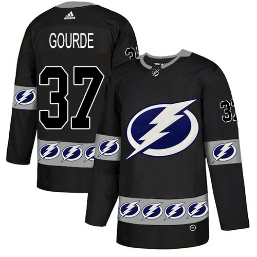 Adidas NHL Men's Yanni Gourde Black Authentic Jersey - #37 Tampa Bay Lightning Team Logo Fashion